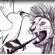 a bird fight with a lion